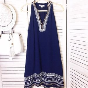 THML Blue Embroidered Halter Dress - L
